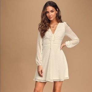 Lulus Swiss Dot long sleeve skater dress